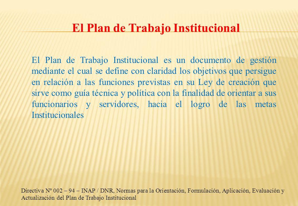El Plan de Trabajo Institucional El Plan de Trabajo Institucional es un documento de gestión mediante el cual se define con claridad los objetivos que