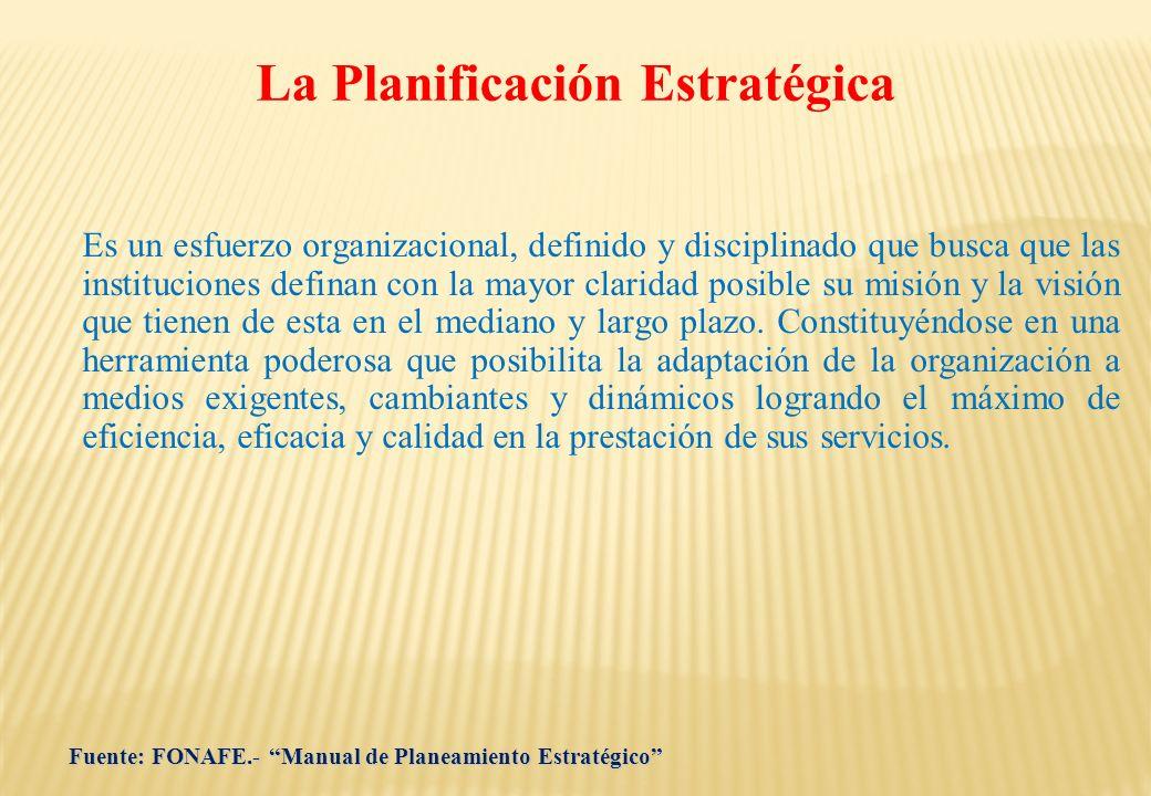 La Planificación Estratégica Es un esfuerzo organizacional, definido y disciplinado que busca que las instituciones definan con la mayor claridad posi