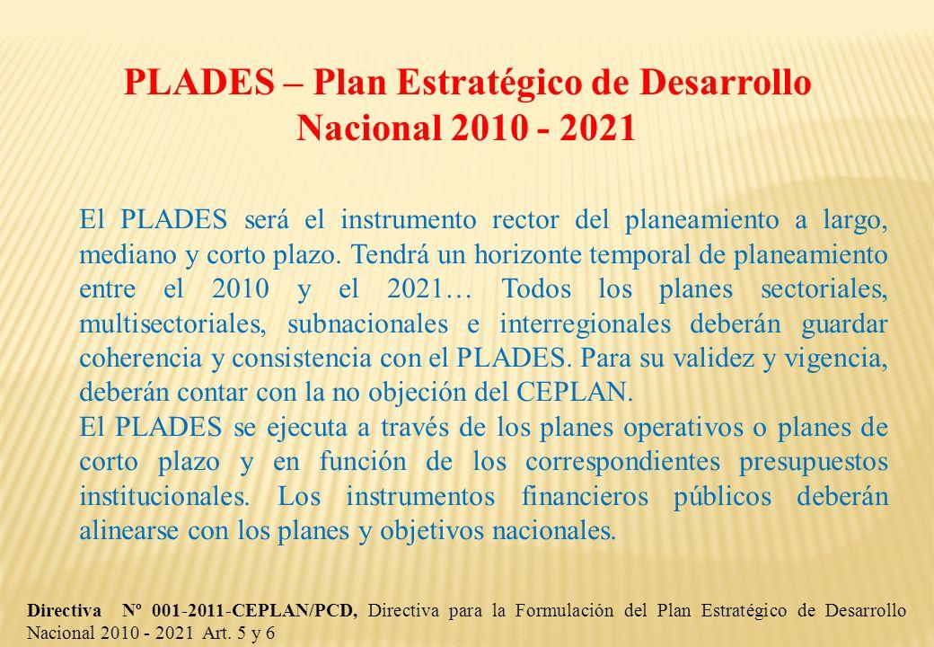 PLADES – Plan Estratégico de Desarrollo Nacional 2010 - 2021 Directiva Nº 001-2011-CEPLAN/PCD, Directiva para la Formulación del Plan Estratégico de D