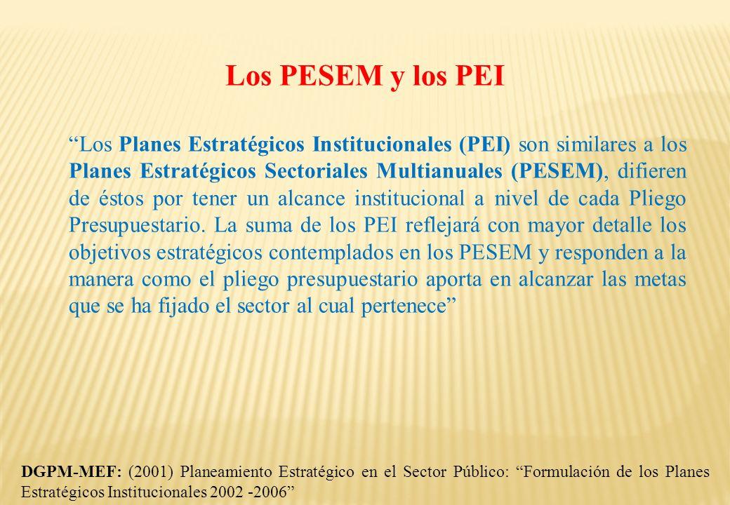 Los PESEM y los PEI Los Planes Estratégicos Institucionales (PEI) son similares a los Planes Estratégicos Sectoriales Multianuales (PESEM), difieren d