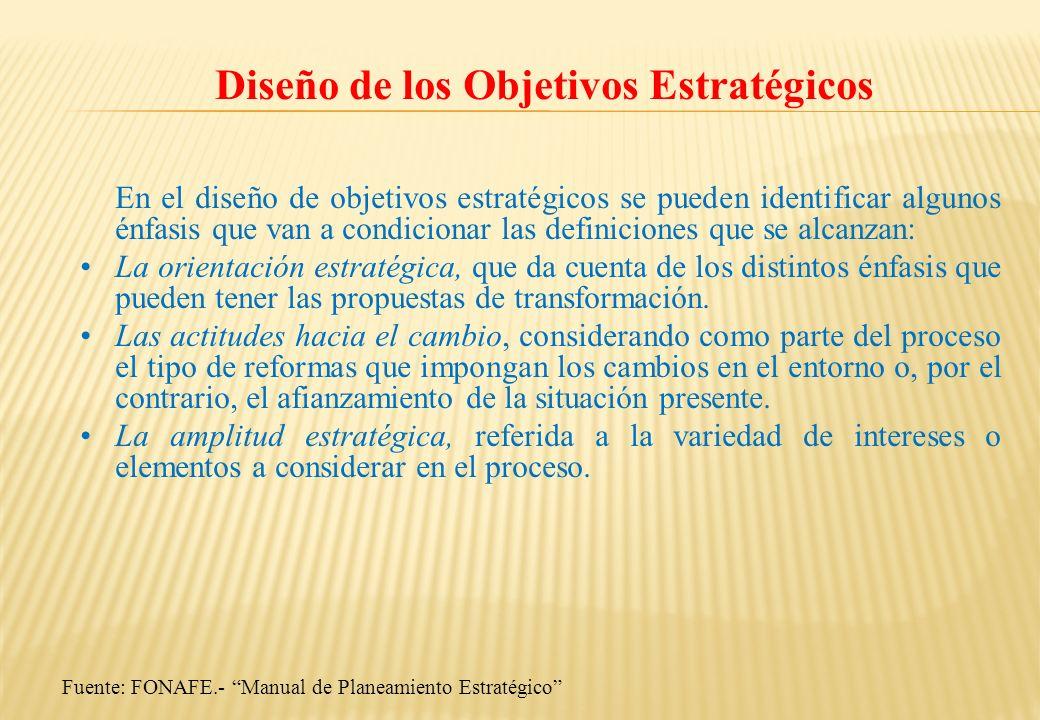 Fuente: FONAFE.- Manual de Planeamiento Estratégico Diseño de los Objetivos Estratégicos En el diseño de objetivos estratégicos se pueden identificar