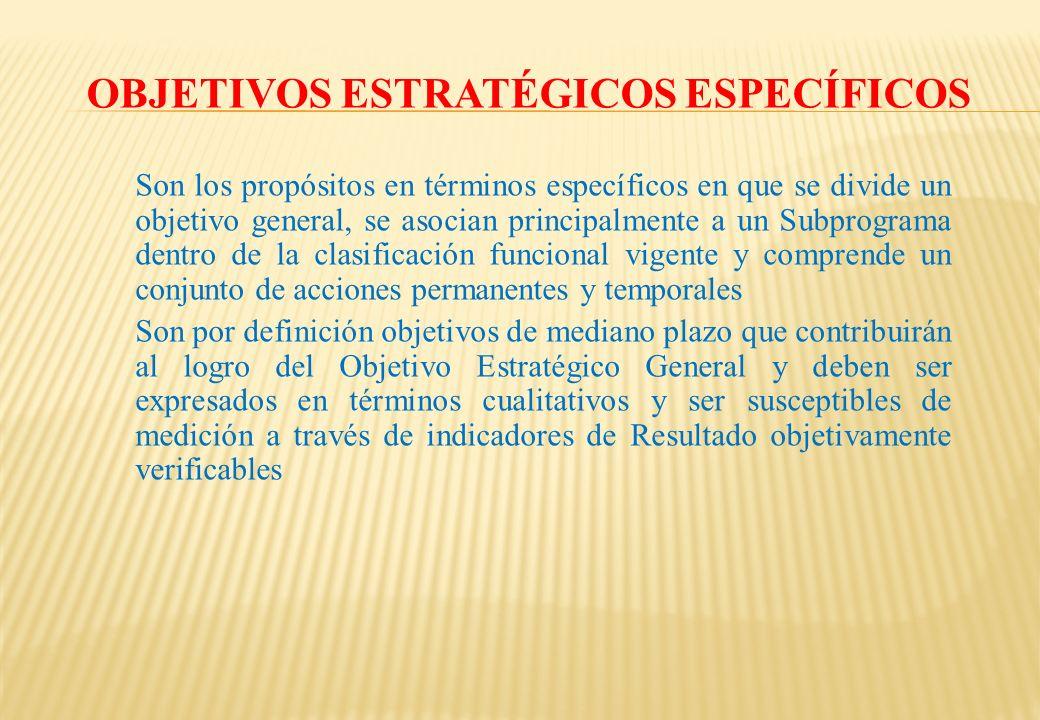 OBJETIVOS ESTRATÉGICOS ESPECÍFICOS Son los propósitos en términos específicos en que se divide un objetivo general, se asocian principalmente a un Sub