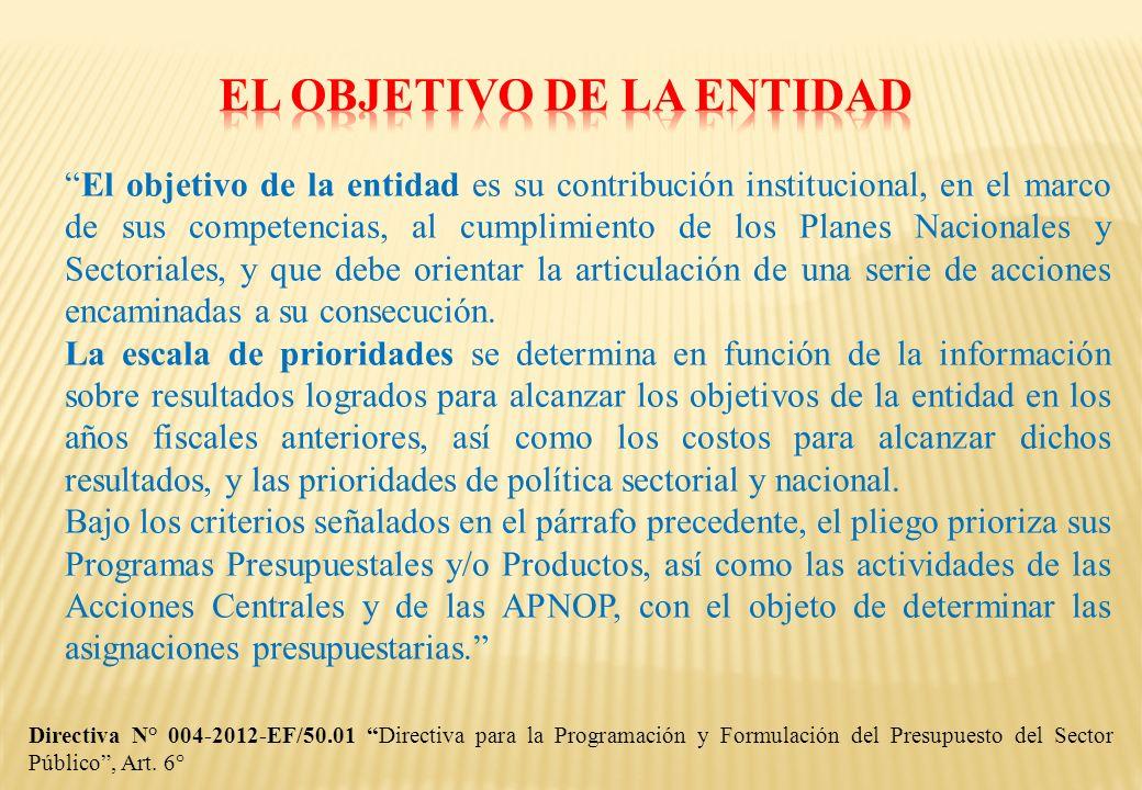 El objetivo de la entidad es su contribución institucional, en el marco de sus competencias, al cumplimiento de los Planes Nacionales y Sectoriales, y