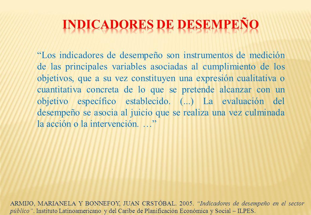Los indicadores de desempeño son instrumentos de medición de las principales variables asociadas al cumplimiento de los objetivos, que a su vez consti