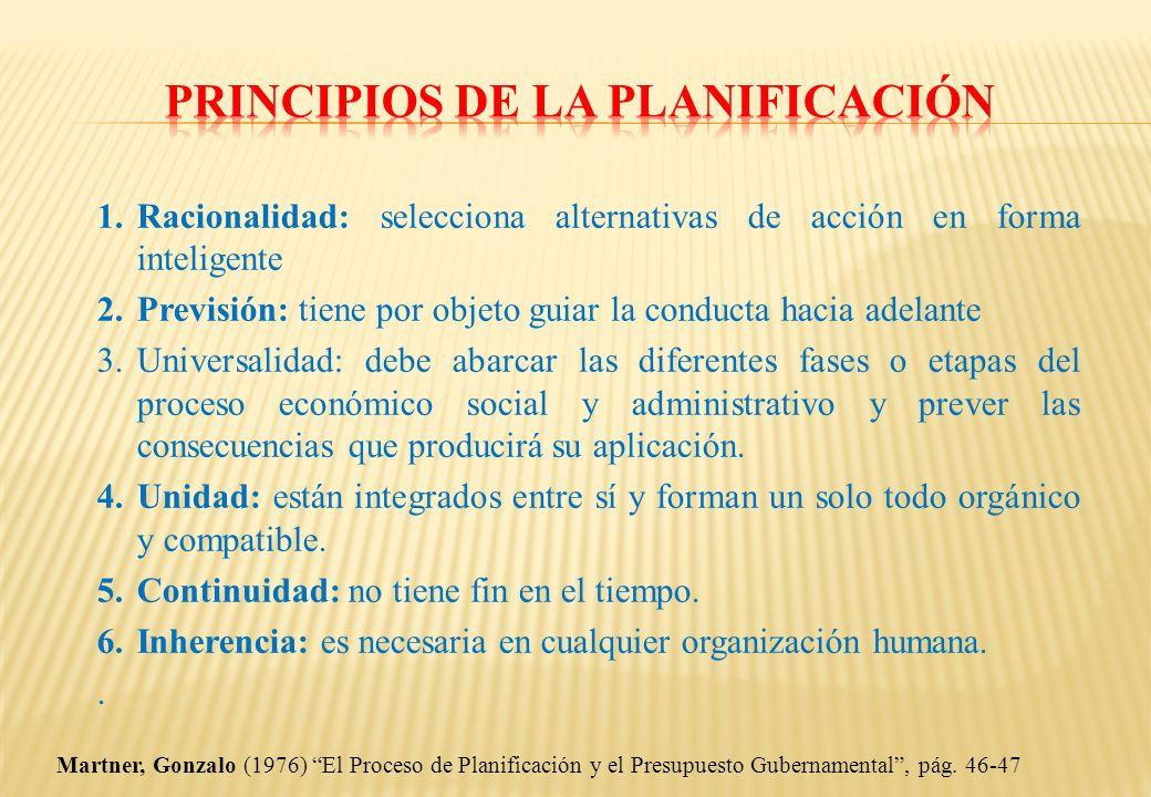 1. Racionalidad: selecciona alternativas de acción en forma inteligente 2. Previsión: tiene por objeto guiar la conducta hacia adelante 3. Universalid