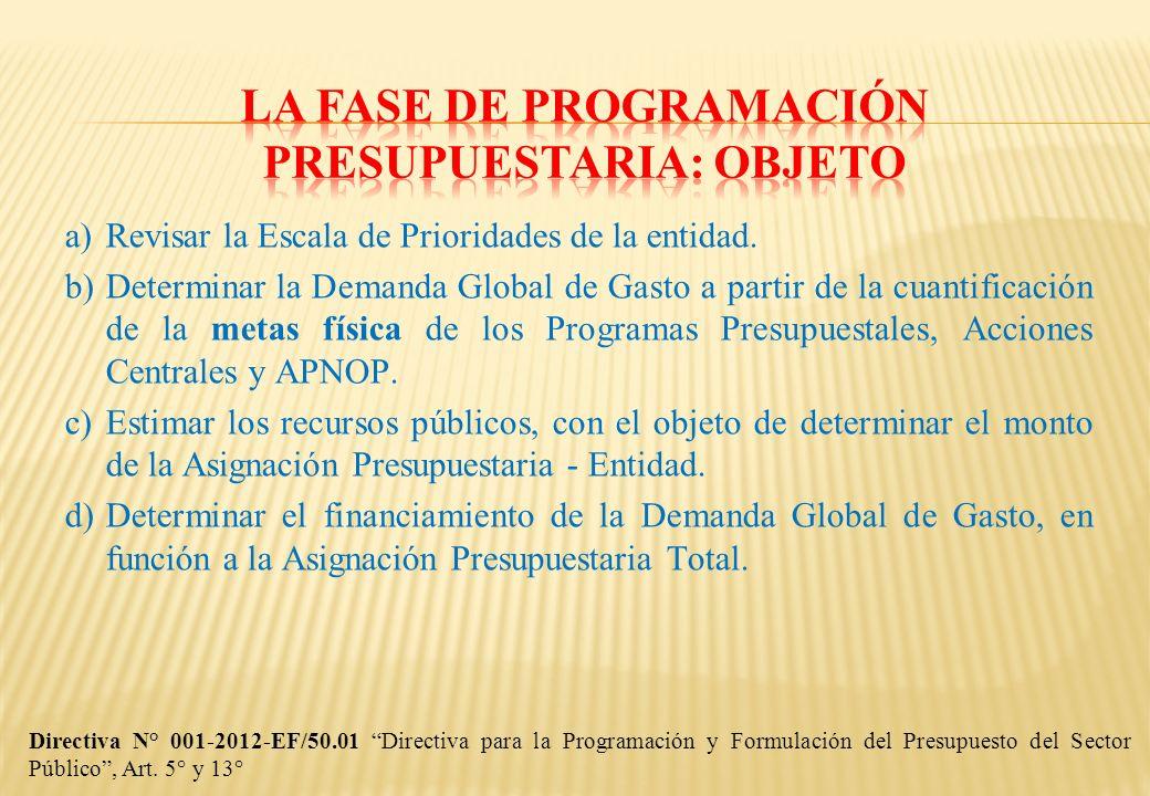 Directiva para la Programación y Formulación del Presupuesto del Sector Público de 2007 a 2012.