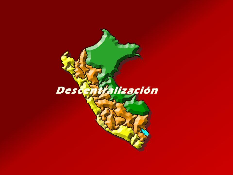Acuerdo entre Gobiernos Regionales limítrofes Acuerdo entre Gobiernos Regionales limítrofes Promueve la Promueve la integración territorial Incluyen 24 departamentos Incluyen 24 departamentos Ley N° 27867: Ley Orgánica de los Gobiernos Regionales Ley N° 28274 Ley de Incentivos para la Integración y Conformación de Regiones Ley de Incentivos para la Integración y Conformación de Regiones