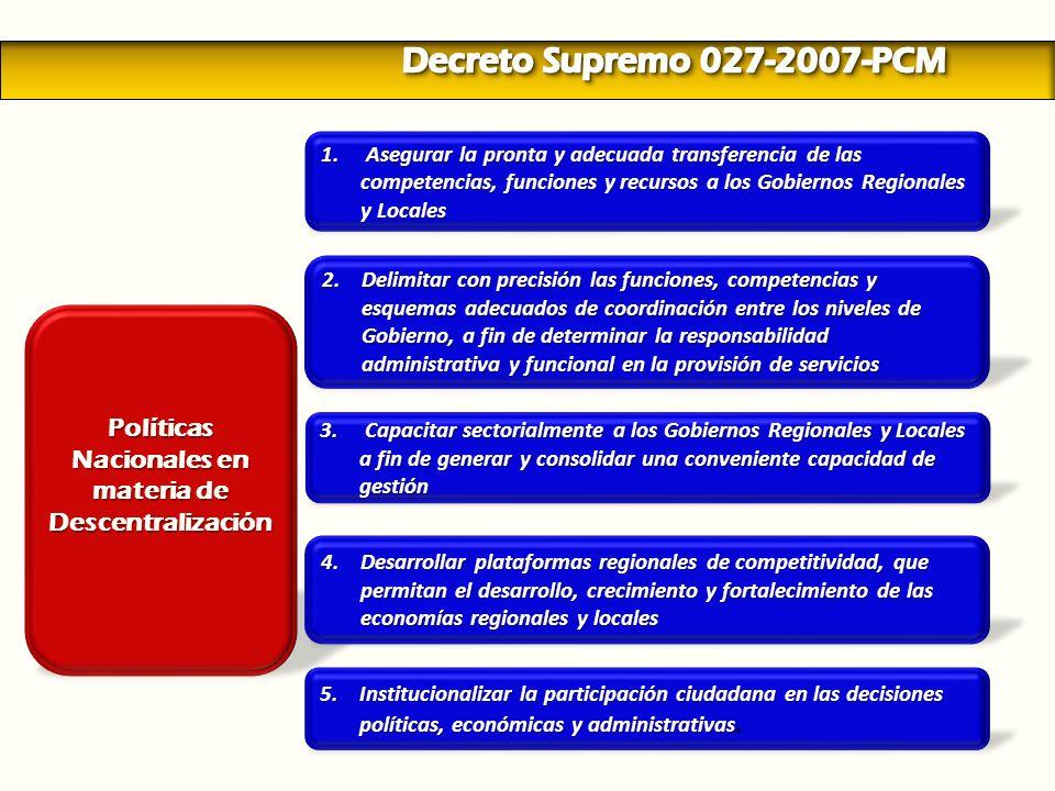 Políticas Nacionales en materia de Descentralización 1. Asegurar la pronta y adecuada transferencia de las competencias, funciones y recursos a los Go