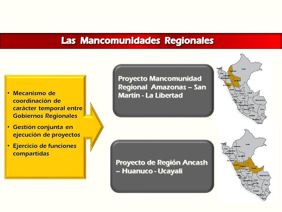 Proyecto Mancomunidad Regional Amazonas – San Martín - La Libertad Mecanismo de coordinación de carácter temporal entre Gobiernos Regionales Mecanismo