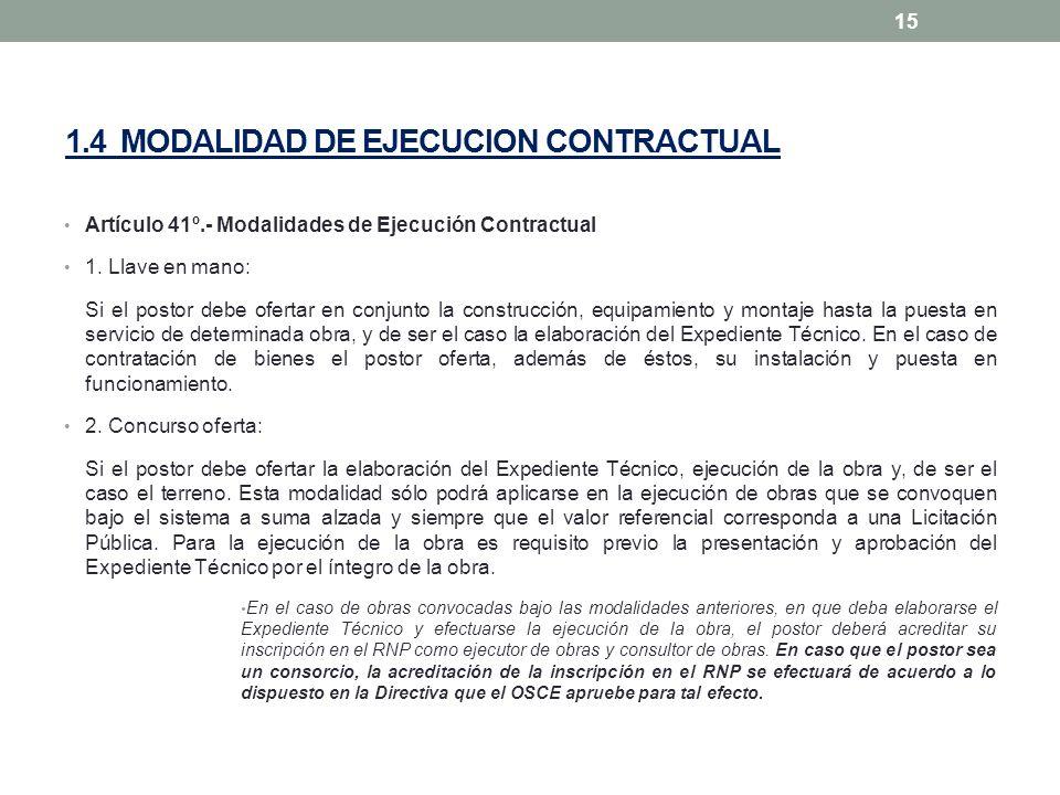 1.4 MODALIDAD DE EJECUCION CONTRACTUAL Artículo 41º.- Modalidades de Ejecución Contractual 1. Llave en mano: Si el postor debe ofertar en conjunto la