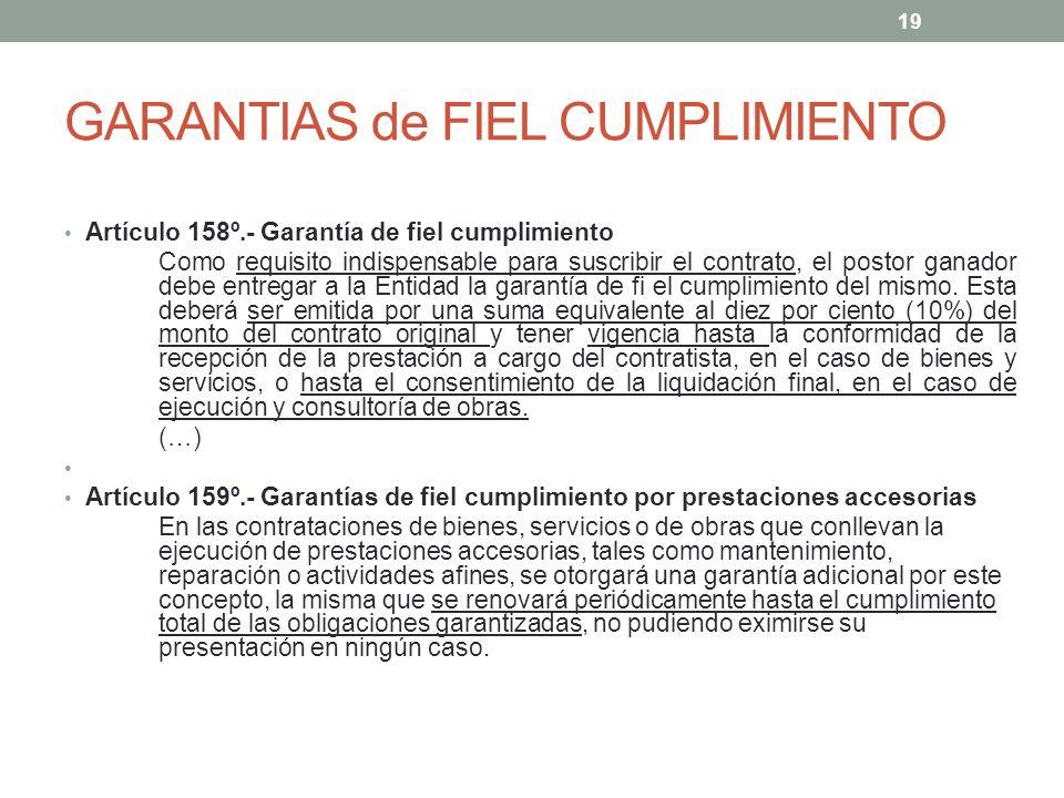 GARANTIAS de FIEL CUMPLIMIENTO Artículo 158º.- Garantía de fiel cumplimiento Como requisito indispensable para suscribir el contrato, el postor ganador debe entregar a la Entidad la garantía de fi el cumplimiento del mismo.