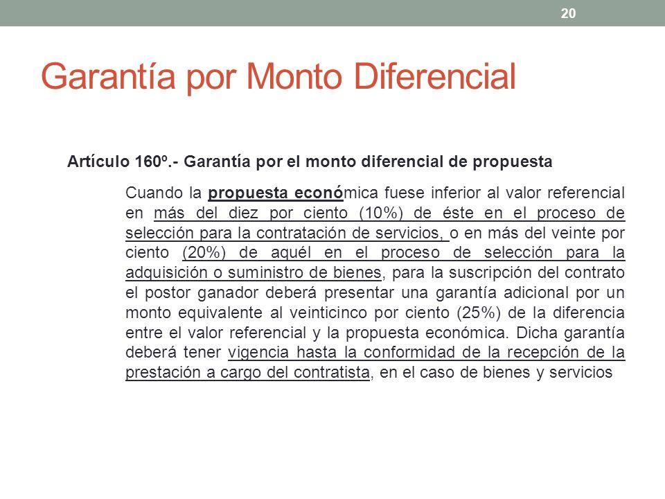 Garantía por Monto Diferencial Artículo 160º.- Garantía por el monto diferencial de propuesta Cuando la propuesta económica fuese inferior al valor re