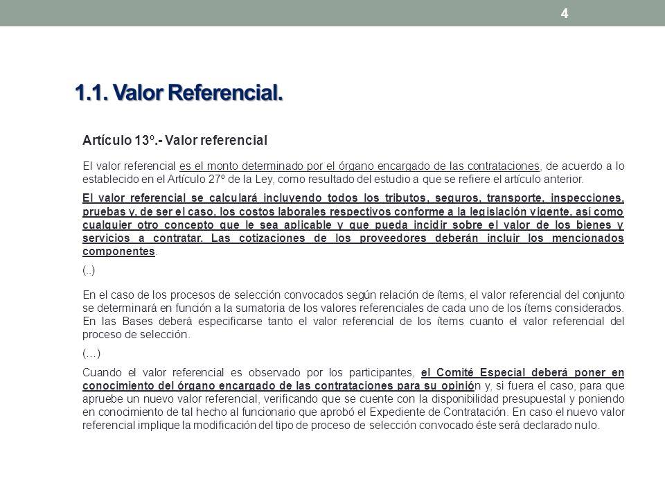 4 Artículo 13º.- Valor referencial El valor referencial es el monto determinado por el órgano encargado de las contrataciones, de acuerdo a lo establecido en el Artículo 27º de la Ley, como resultado del estudio a que se refiere el artículo anterior.