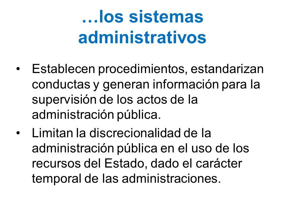 …los sistemas administrativos Establecen procedimientos, estandarizan conductas y generan información para la supervisión de los actos de la administr