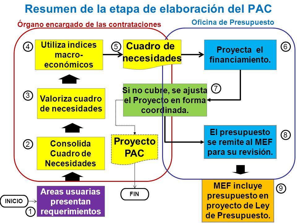 Areas usuarias presentan requerimientos Consolida Cuadro de Necesidades Proyecta el financiamiento. Resumen de la etapa de elaboración del PAC Valoriz