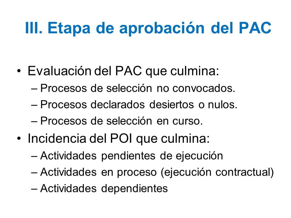 III. Etapa de aprobación del PAC Evaluación del PAC que culmina: –Procesos de selección no convocados. –Procesos declarados desiertos o nulos. –Proces