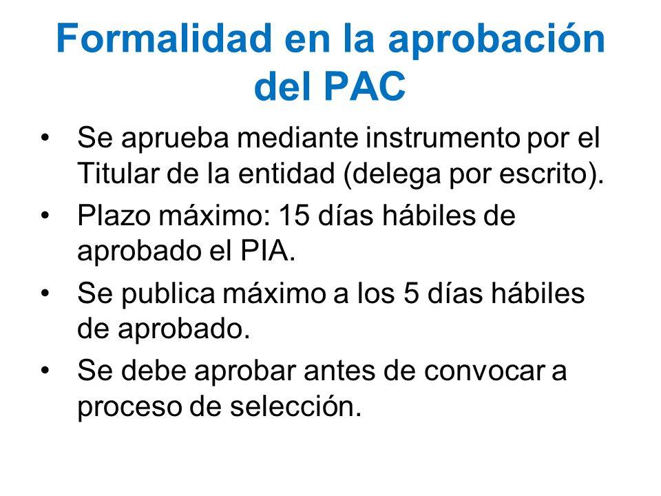 Se aprueba mediante instrumento por el Titular de la entidad (delega por escrito). Plazo máximo: 15 días hábiles de aprobado el PIA. Se publica máximo