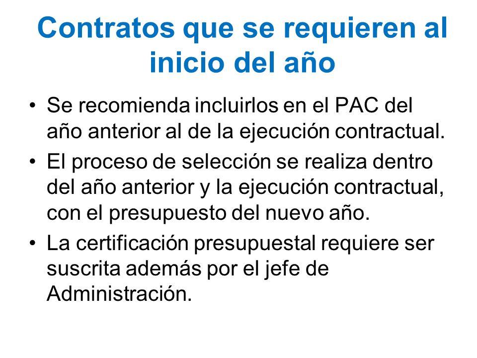 Contratos que se requieren al inicio del año Se recomienda incluirlos en el PAC del año anterior al de la ejecución contractual. El proceso de selecci