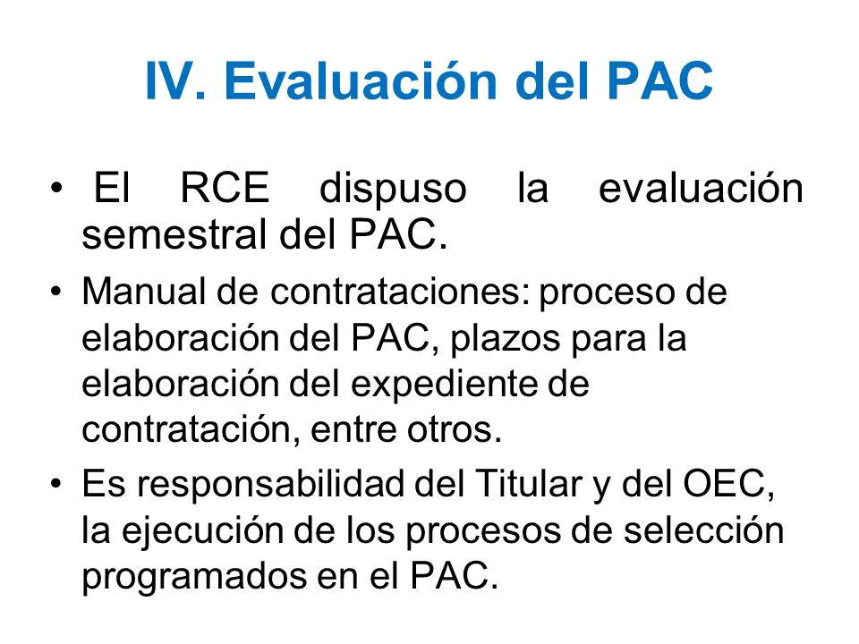 IV. Evaluación del PAC El RCE dispuso la evaluación semestral del PAC. Manual de contrataciones: proceso de elaboración del PAC, plazos para la elabor