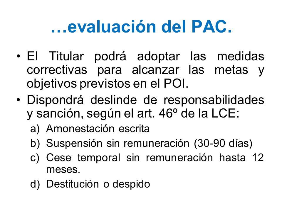 …evaluación del PAC. El Titular podrá adoptar las medidas correctivas para alcanzar las metas y objetivos previstos en el POI. Dispondrá deslinde de r