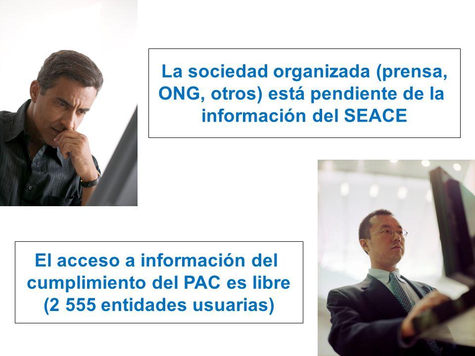 La sociedad organizada (prensa, ONG, otros) está pendiente de la información del SEACE El acceso a información del cumplimiento del PAC es libre (2 55