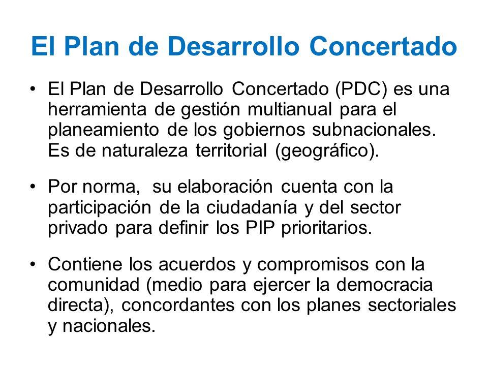 El Plan de Desarrollo Concertado El Plan de Desarrollo Concertado (PDC) es una herramienta de gestión multianual para el planeamiento de los gobiernos