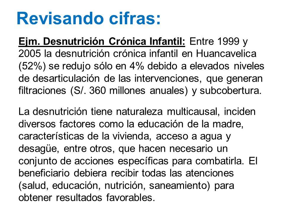 Revisando cifras: Ejm. Desnutrición Crónica Infantil: Entre 1999 y 2005 la desnutrición crónica infantil en Huancavelica (52%) se redujo sólo en 4% de