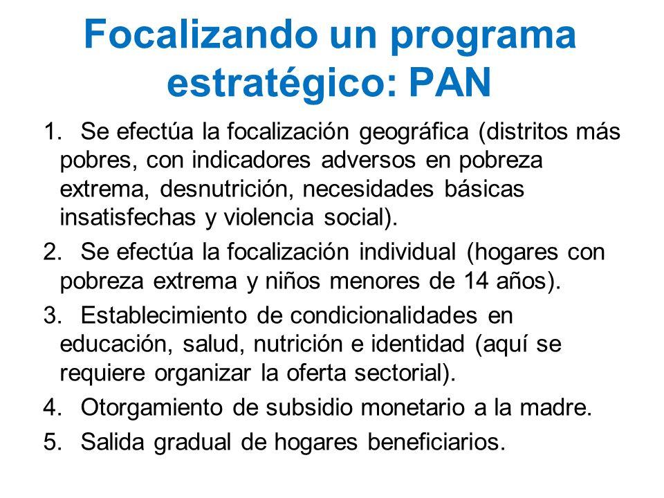 Focalizando un programa estratégico: PAN 1.Se efectúa la focalización geográfica (distritos más pobres, con indicadores adversos en pobreza extrema, d