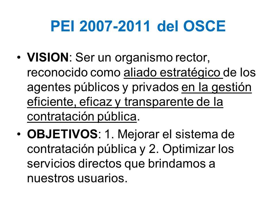 PEI 2007-2011 del OSCE VISION: Ser un organismo rector, reconocido como aliado estratégico de los agentes públicos y privados en la gestión eficiente,
