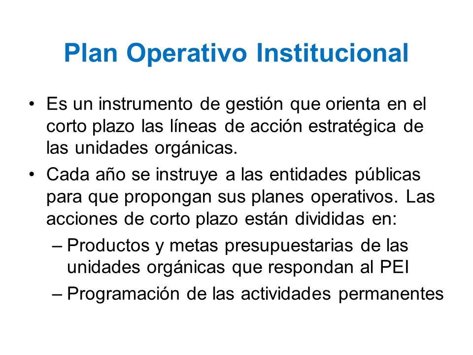 Plan Operativo Institucional Es un instrumento de gestión que orienta en el corto plazo las líneas de acción estratégica de las unidades orgánicas. Ca