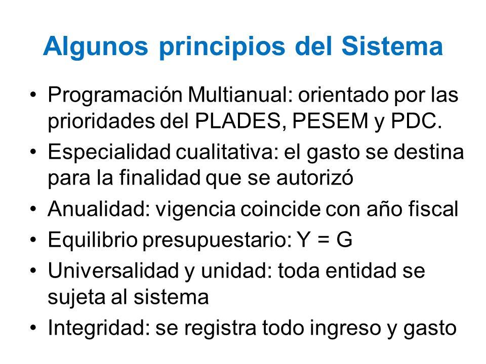 Algunos principios del Sistema Programación Multianual: orientado por las prioridades del PLADES, PESEM y PDC. Especialidad cualitativa: el gasto se d