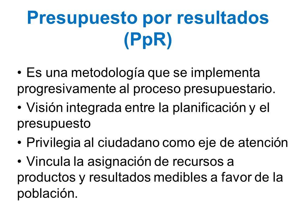 Presupuesto por resultados (PpR) Es una metodología que se implementa progresivamente al proceso presupuestario. Visión integrada entre la planificaci