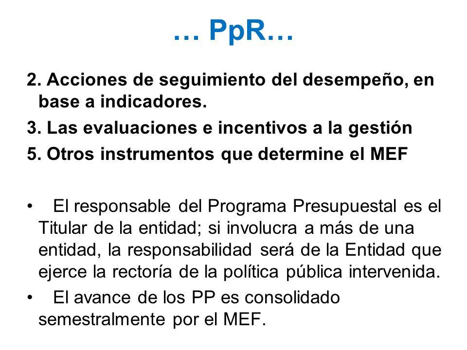 … PpR… 2. Acciones de seguimiento del desempeño, en base a indicadores. 3. Las evaluaciones e incentivos a la gestión 5. Otros instrumentos que determ