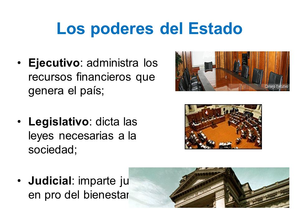 Los poderes del Estado Ejecutivo: administra los recursos financieros que genera el país; Legislativo: dicta las leyes necesarias a la sociedad; Judic