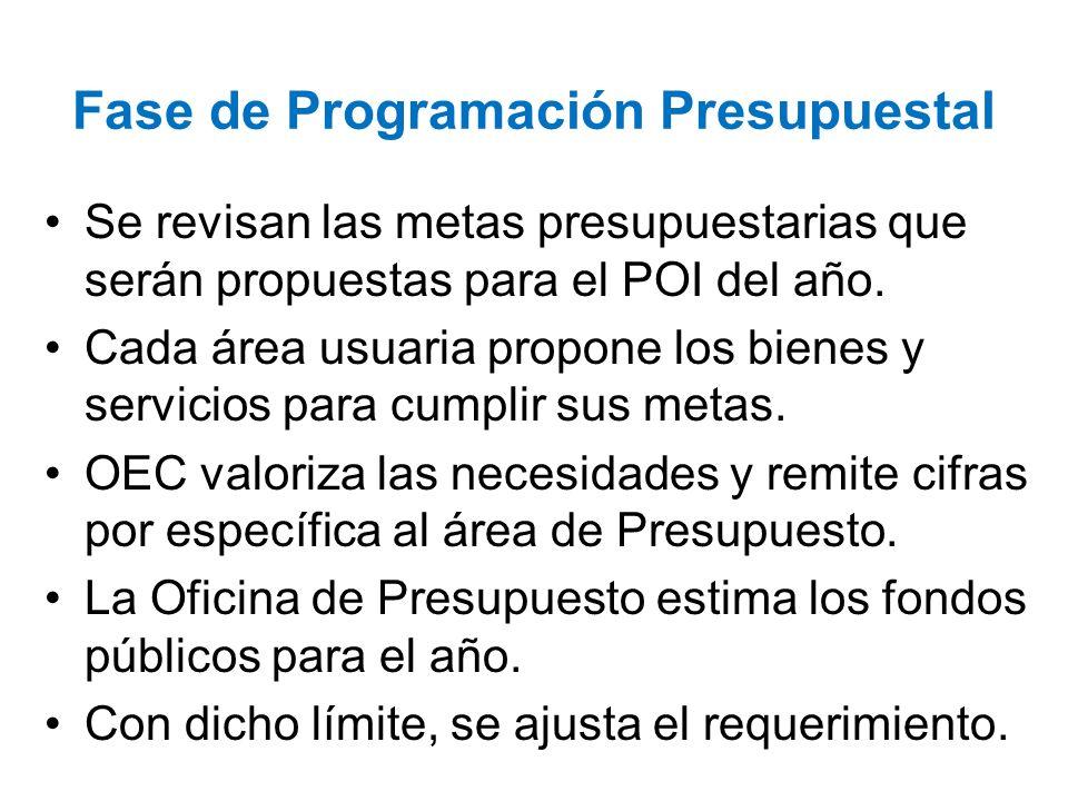 Fase de Programación Presupuestal Se revisan las metas presupuestarias que serán propuestas para el POI del año. Cada área usuaria propone los bienes