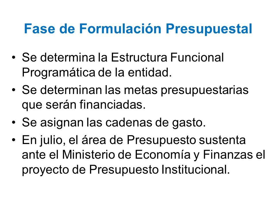 Fase de Formulación Presupuestal Se determina la Estructura Funcional Programática de la entidad. Se determinan las metas presupuestarias que serán fi