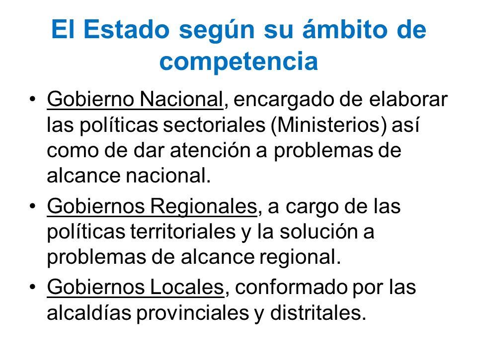 El Estado según su ámbito de competencia Gobierno Nacional, encargado de elaborar las políticas sectoriales (Ministerios) así como de dar atención a p