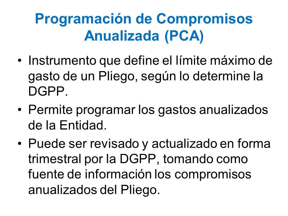 Programación de Compromisos Anualizada (PCA) Instrumento que define el límite máximo de gasto de un Pliego, según lo determine la DGPP. Permite progra