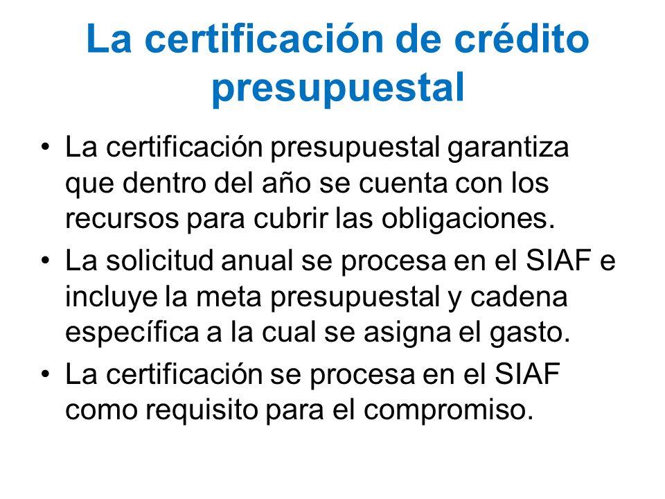 La certificación de crédito presupuestal La certificación presupuestal garantiza que dentro del año se cuenta con los recursos para cubrir las obligac