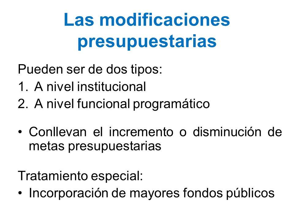 Las modificaciones presupuestarias Pueden ser de dos tipos: 1.A nivel institucional 2.A nivel funcional programático Conllevan el incremento o disminu