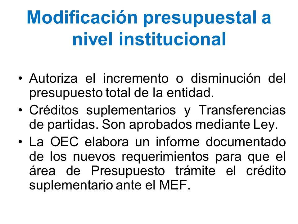 Modificación presupuestal a nivel institucional Autoriza el incremento o disminución del presupuesto total de la entidad. Créditos suplementarios y Tr
