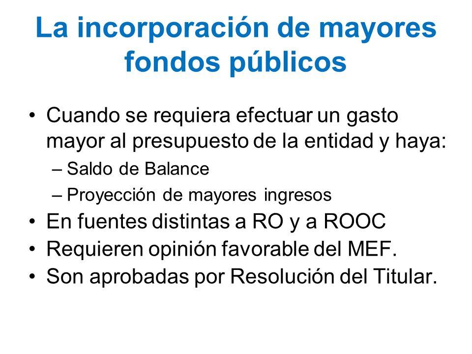 La incorporación de mayores fondos públicos Cuando se requiera efectuar un gasto mayor al presupuesto de la entidad y haya: –Saldo de Balance –Proyecc