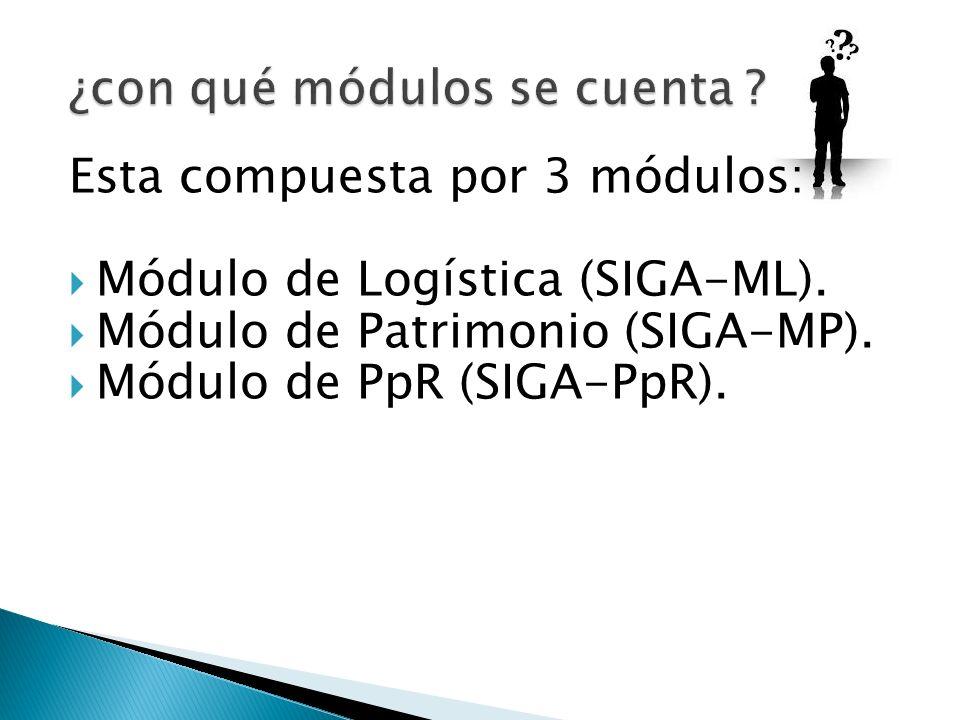 Esta compuesta por 3 módulos: Módulo de Logística (SIGA-ML). Módulo de Patrimonio (SIGA-MP). Módulo de PpR (SIGA-PpR).