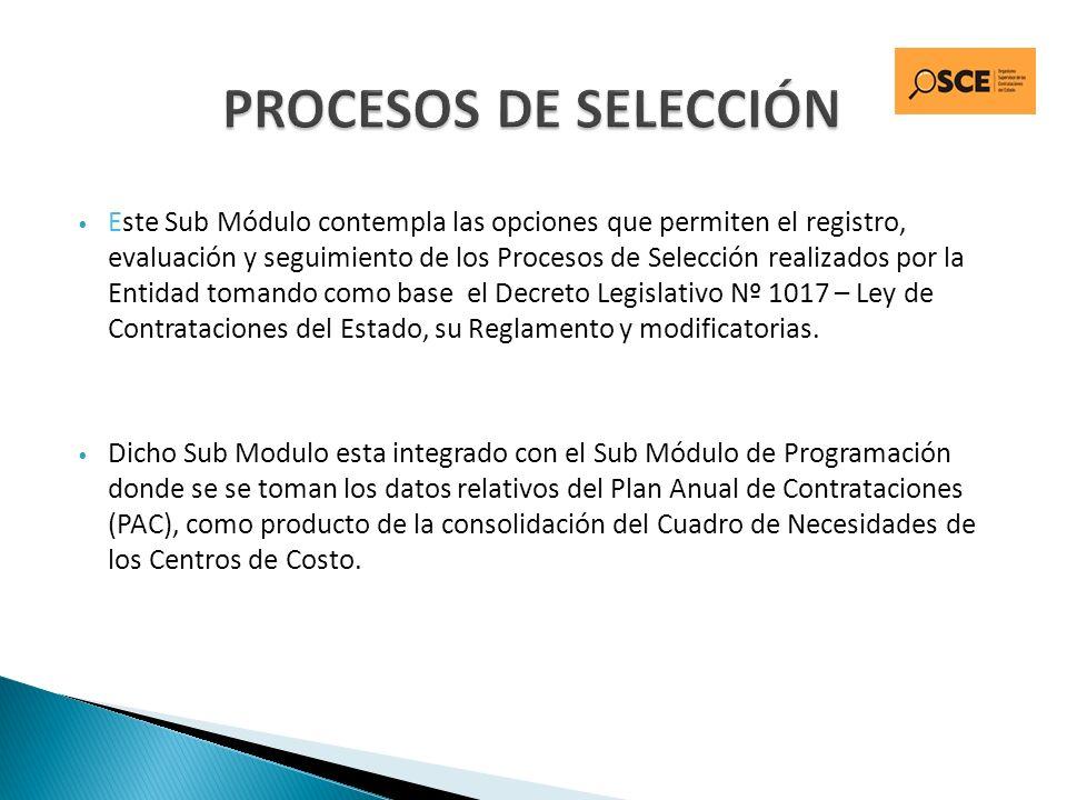 Este Sub Módulo contempla las opciones que permiten el registro, evaluación y seguimiento de los Procesos de Selección realizados por la Entidad toman