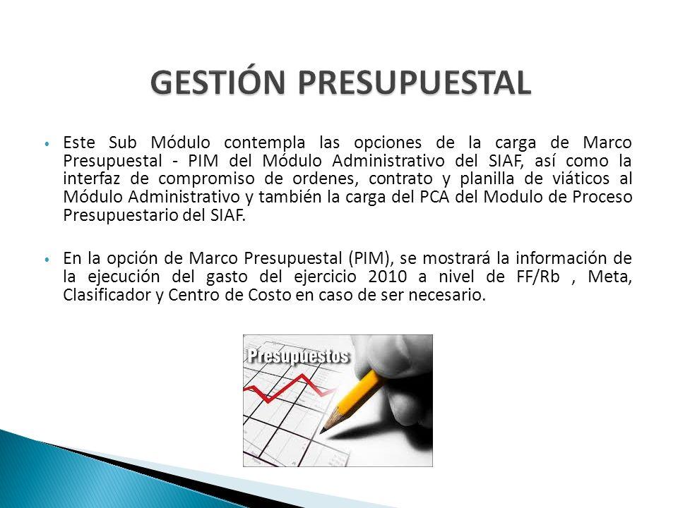 Este Sub Módulo contempla las opciones de la carga de Marco Presupuestal - PIM del Módulo Administrativo del SIAF, así como la interfaz de compromiso