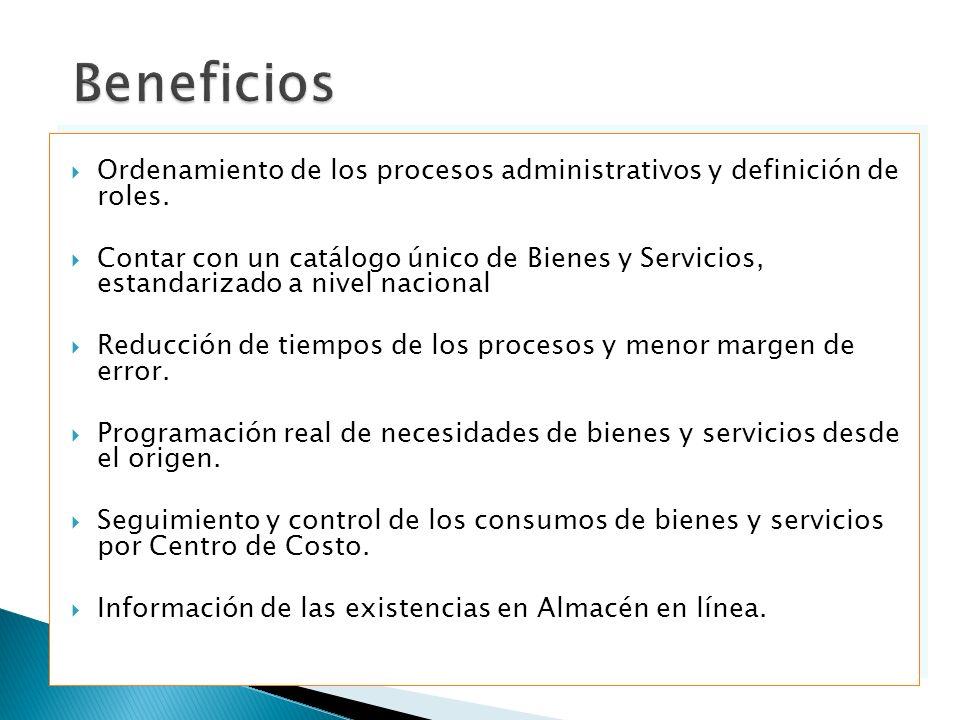 Ordenamiento de los procesos administrativos y definición de roles. Contar con un catálogo único de Bienes y Servicios, estandarizado a nivel nacional