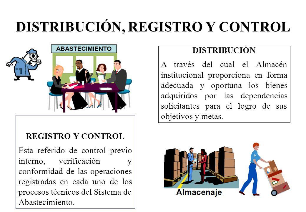 DISTRIBUCIÓN, REGISTRO Y CONTROL REGISTRO Y CONTROL Esta referido de control previo interno, verificación y conformidad de las operaciones registradas