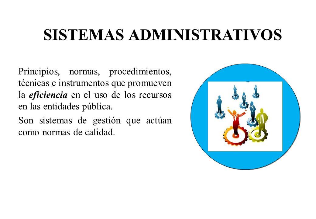 Principios, normas, procedimientos, técnicas e instrumentos que promueven la eficiencia en el uso de los recursos en las entidades pública. Son sistem