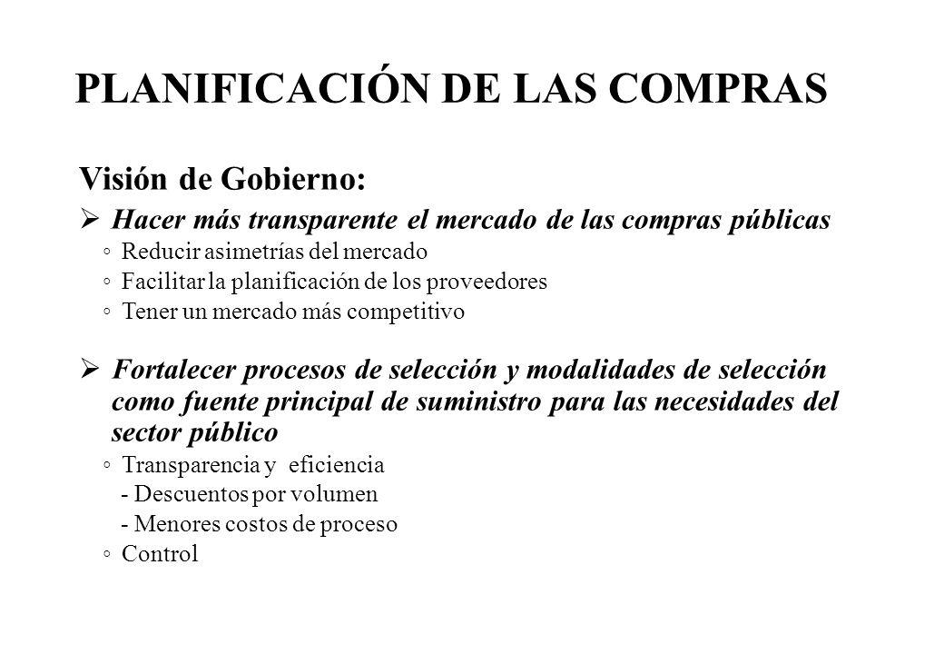Visión de Gobierno: Hacer más transparente el mercado de las compras públicas Reducir asimetrías del mercado Facilitar la planificación de los proveed