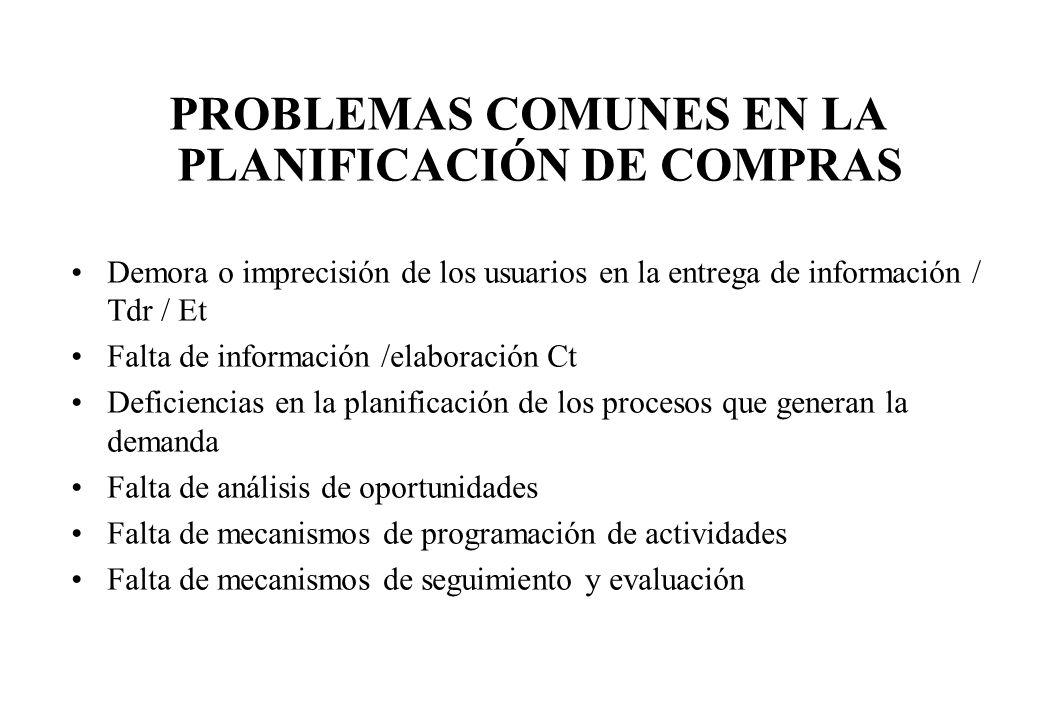 Demora o imprecisión de los usuarios en la entrega de información / Tdr / Et Falta de información /elaboración Ct Deficiencias en la planificación de